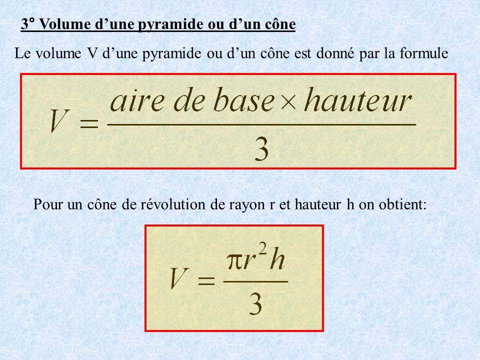 3° Volume d'une pyramide ou d'un cône