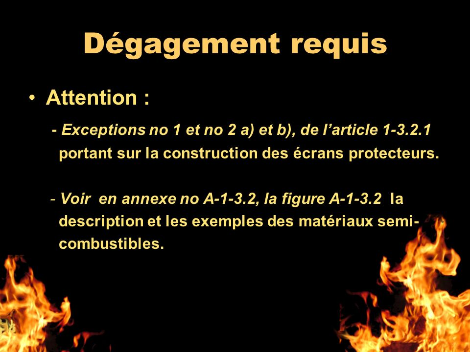 Dégagement requis Attention :