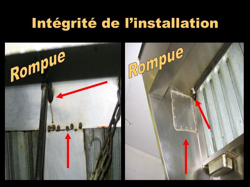 Intégrité de l'installation