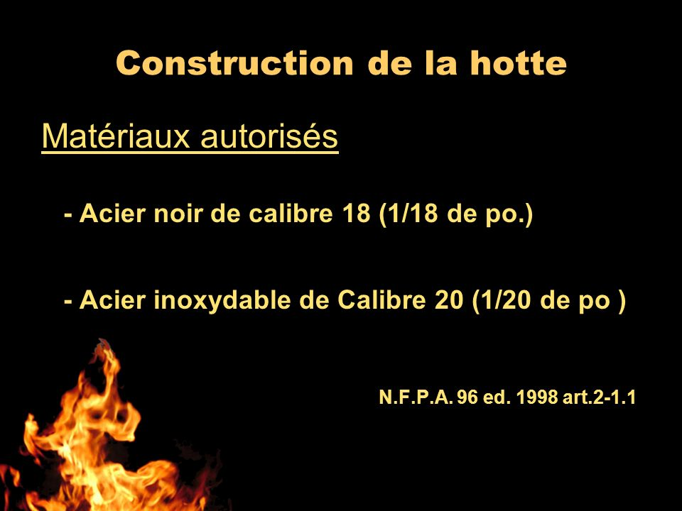 Construction de la hotte