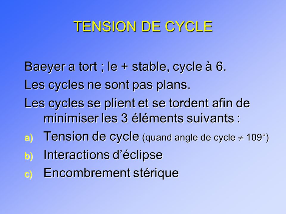 TENSION DE CYCLE Baeyer a tort ; le + stable, cycle à 6.