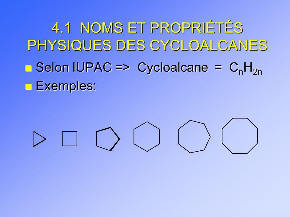 4.1 NOMS ET PROPRIÉTÉS PHYSIQUES DES CYCLOALCANES
