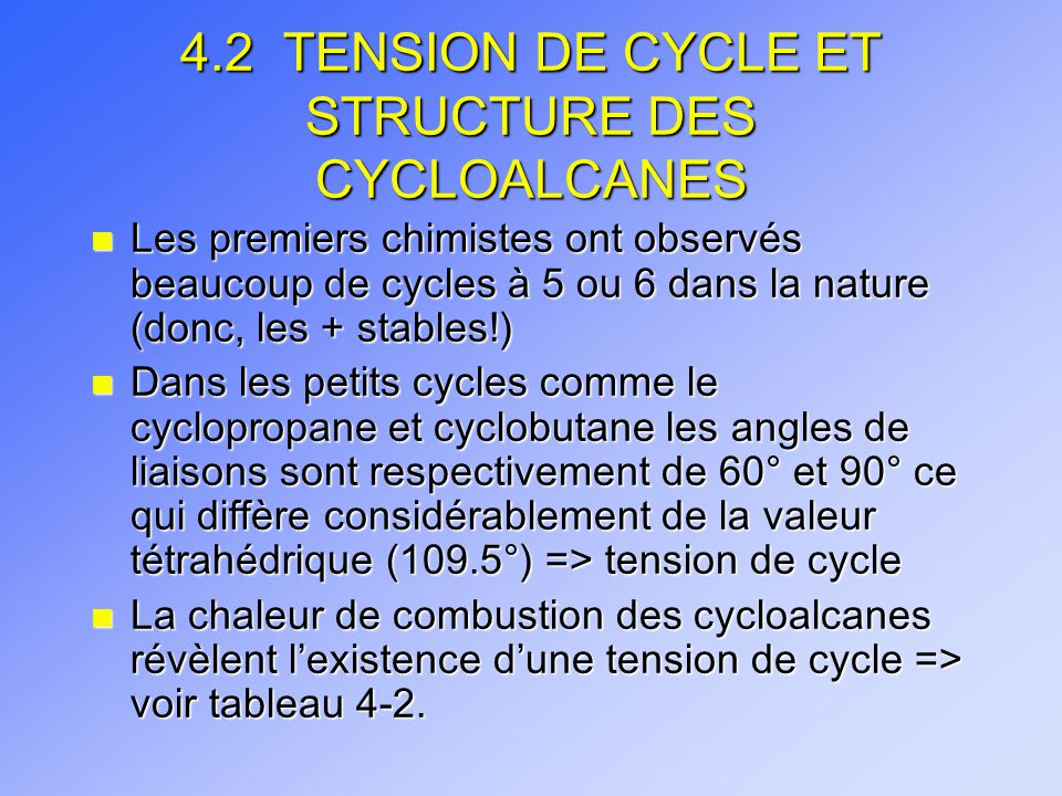 4.2 TENSION DE CYCLE ET STRUCTURE DES CYCLOALCANES