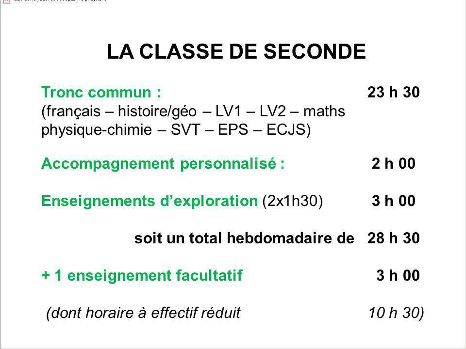 LA CLASSE DE SECONDE Tronc commun : 23 h 30