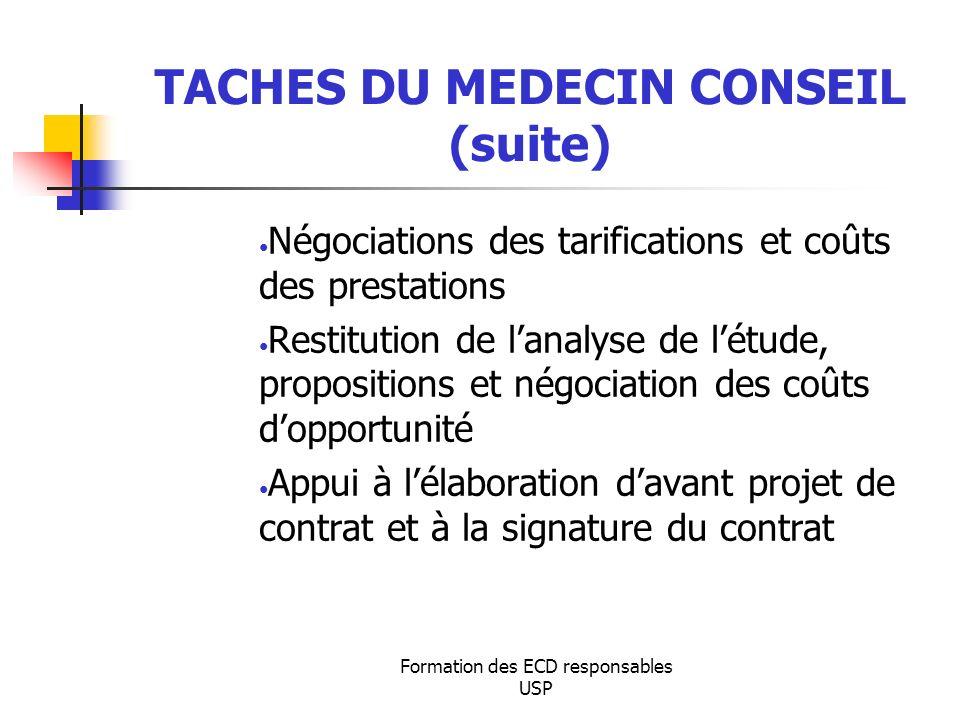 TACHES DU MEDECIN CONSEIL (suite)