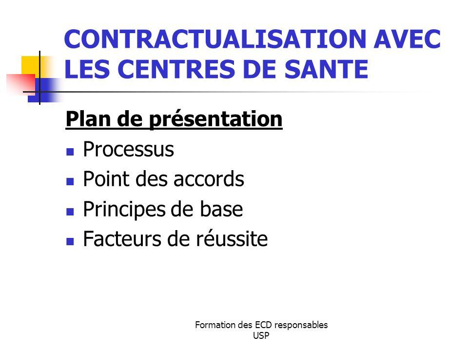 CONTRACTUALISATION AVEC LES CENTRES DE SANTE