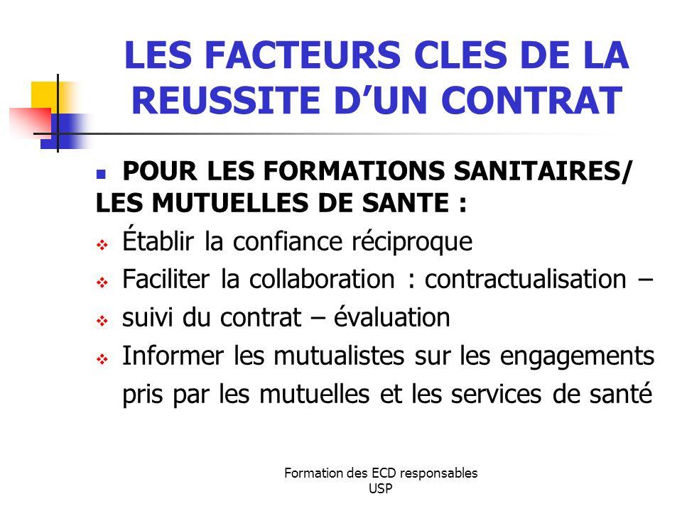 LES FACTEURS CLES DE LA REUSSITE D'UN CONTRAT