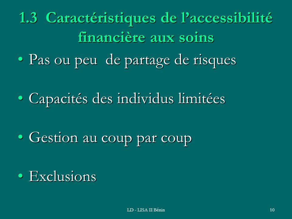 1.3 Caractéristiques de l'accessibilité financière aux soins