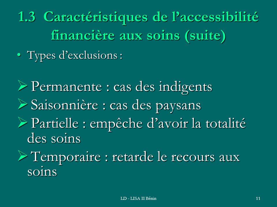 1.3 Caractéristiques de l'accessibilité financière aux soins (suite)