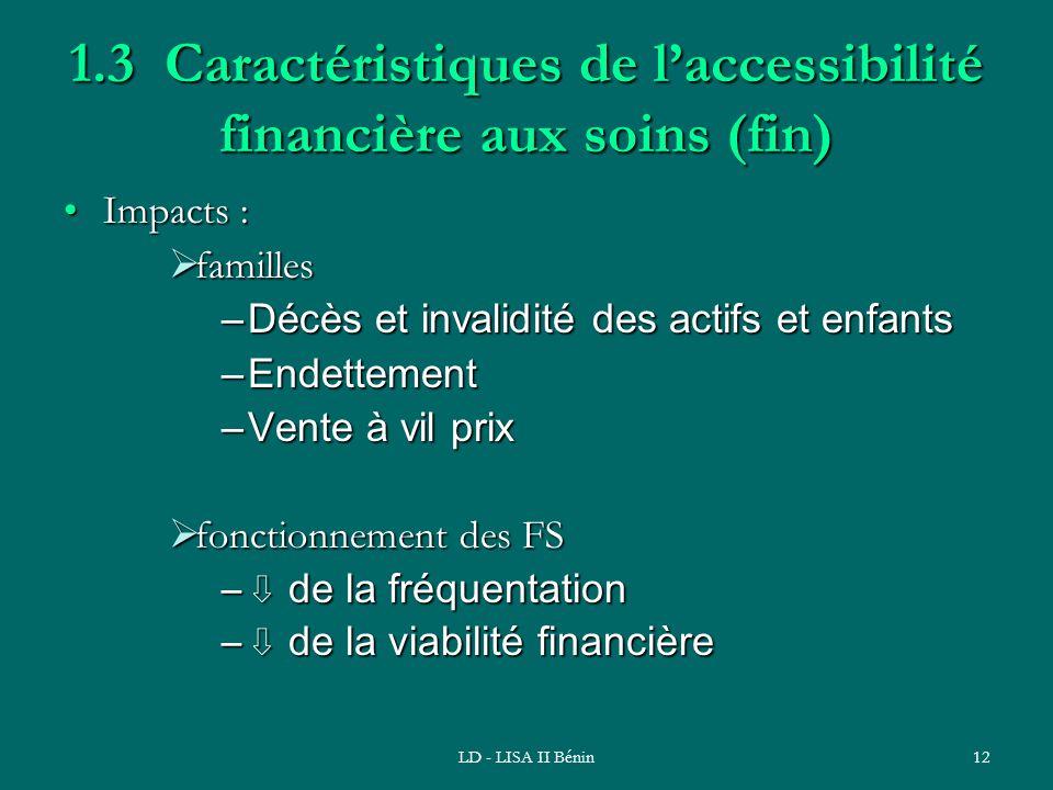 1.3 Caractéristiques de l'accessibilité financière aux soins (fin)