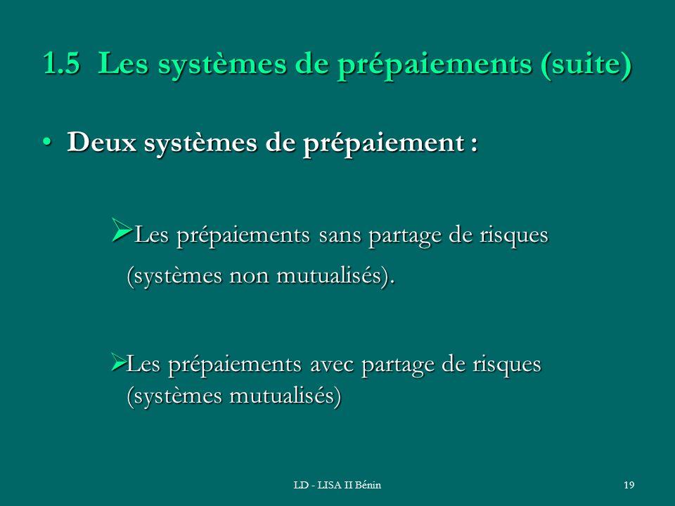 1.5 Les systèmes de prépaiements (suite)