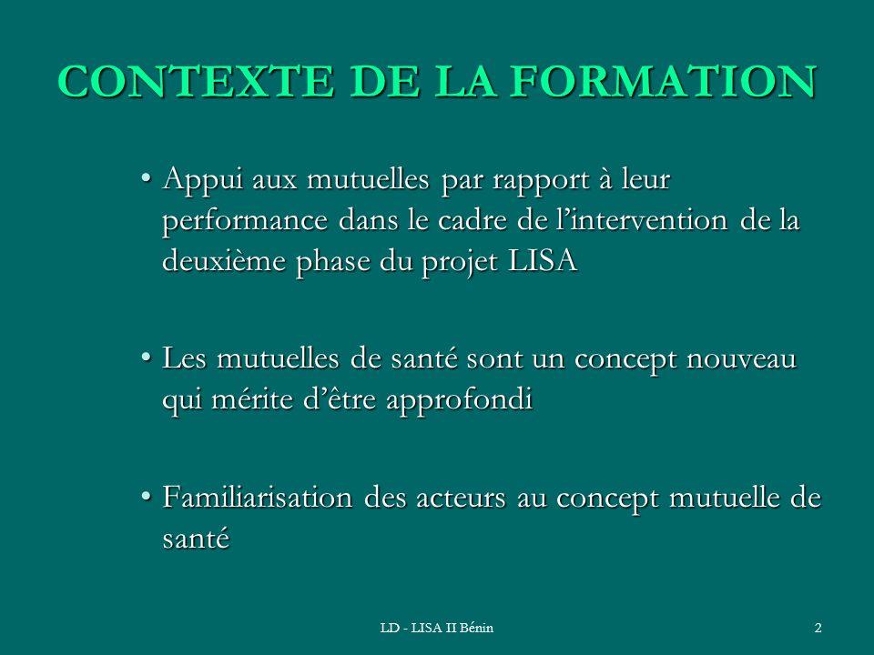 CONTEXTE DE LA FORMATION