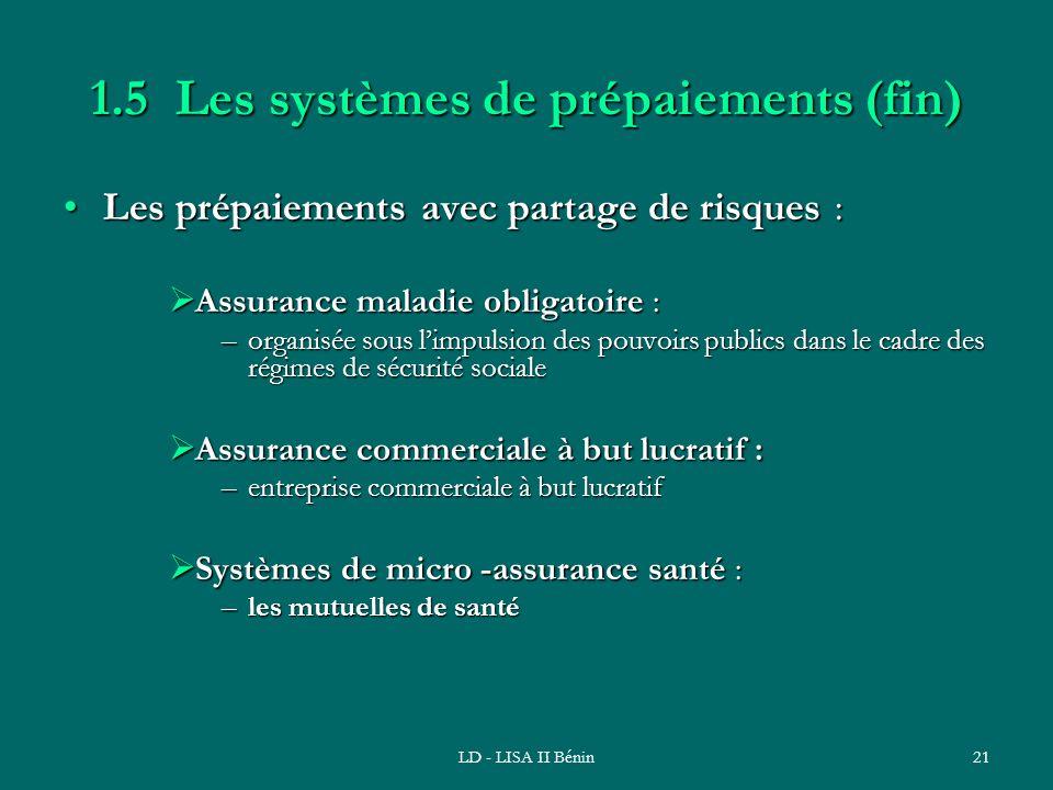 1.5 Les systèmes de prépaiements (fin)
