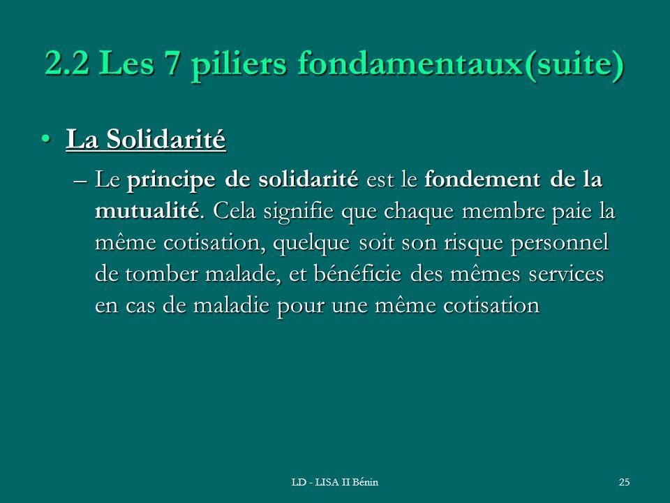 2.2 Les 7 piliers fondamentaux(suite)