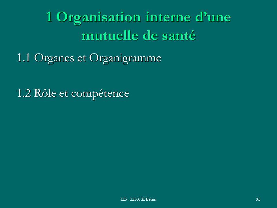 1 Organisation interne d'une mutuelle de santé