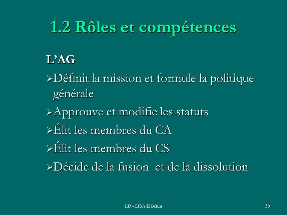 1.2 Rôles et compétences L'AG
