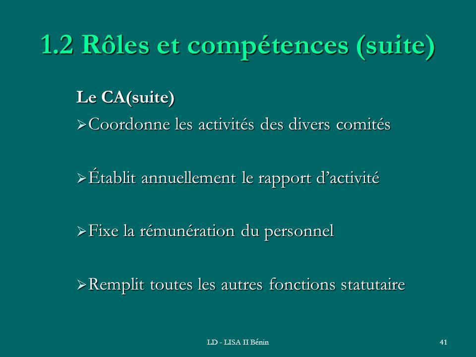 1.2 Rôles et compétences (suite)