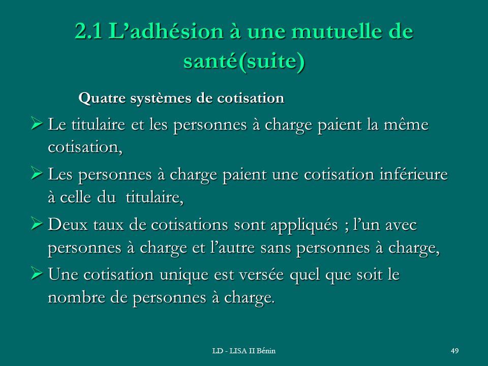 2.1 L'adhésion à une mutuelle de santé(suite)