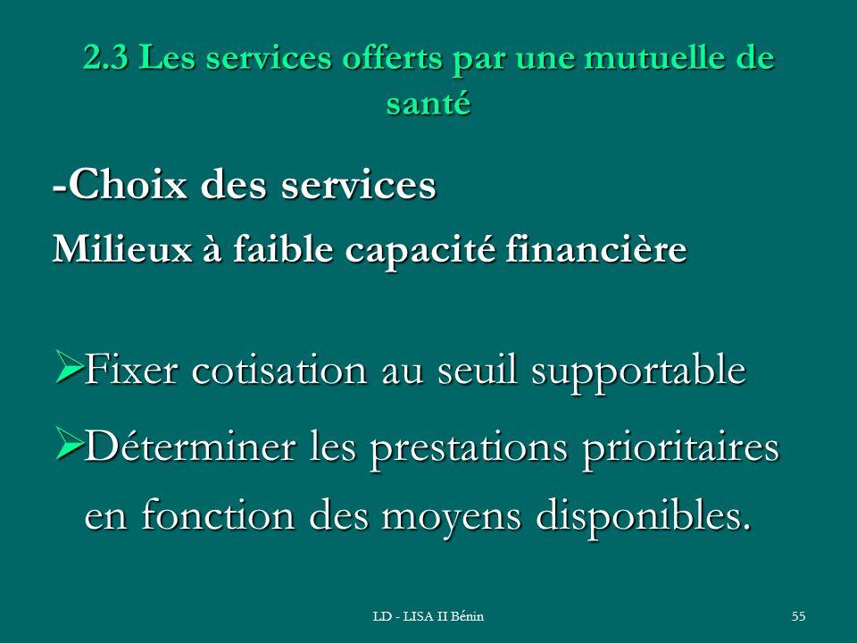 2.3 Les services offerts par une mutuelle de santé