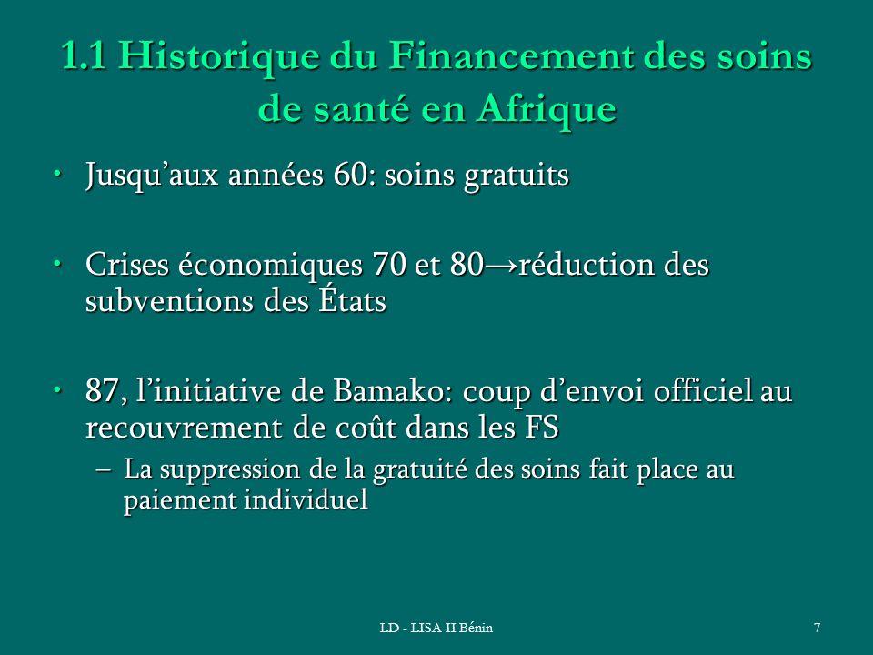 1.1 Historique du Financement des soins de santé en Afrique