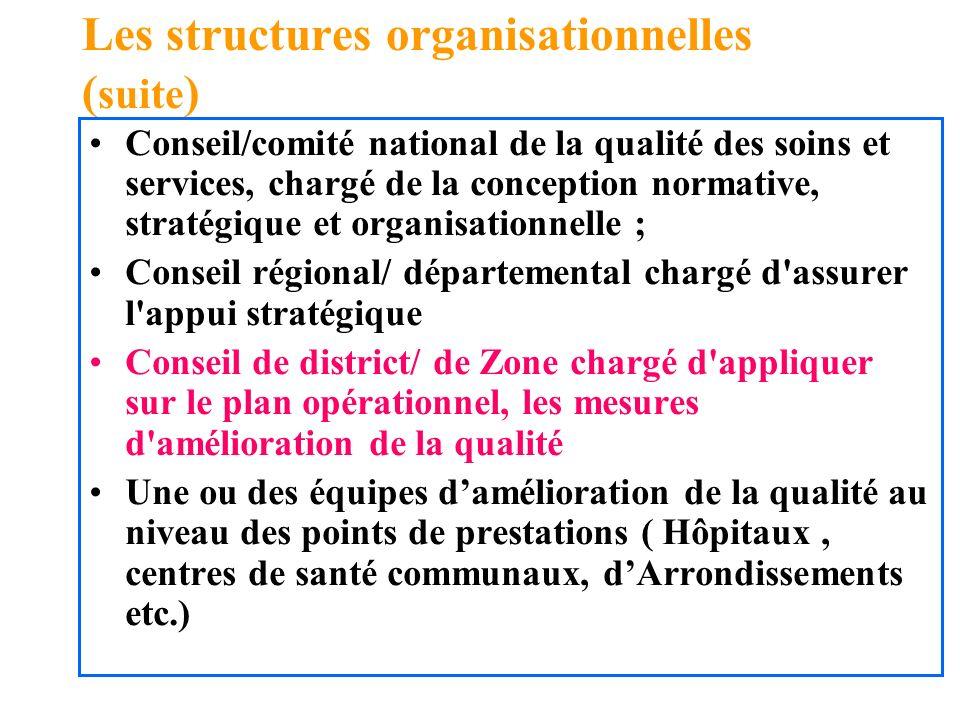 Les structures organisationnelles (suite)