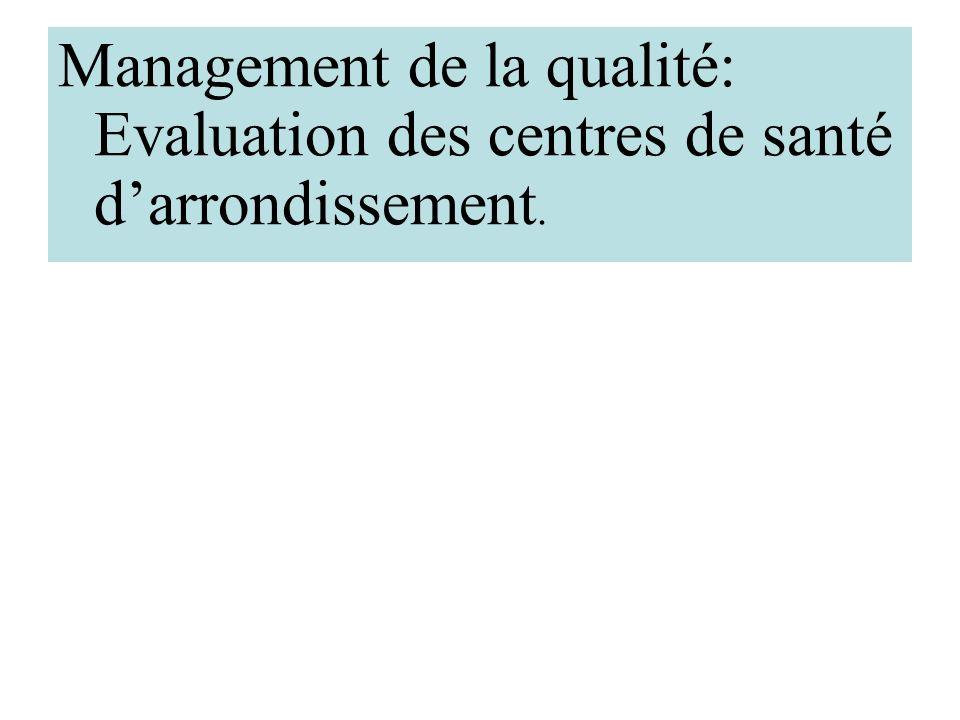 Management de la qualité: Evaluation des centres de santé d'arrondissement.