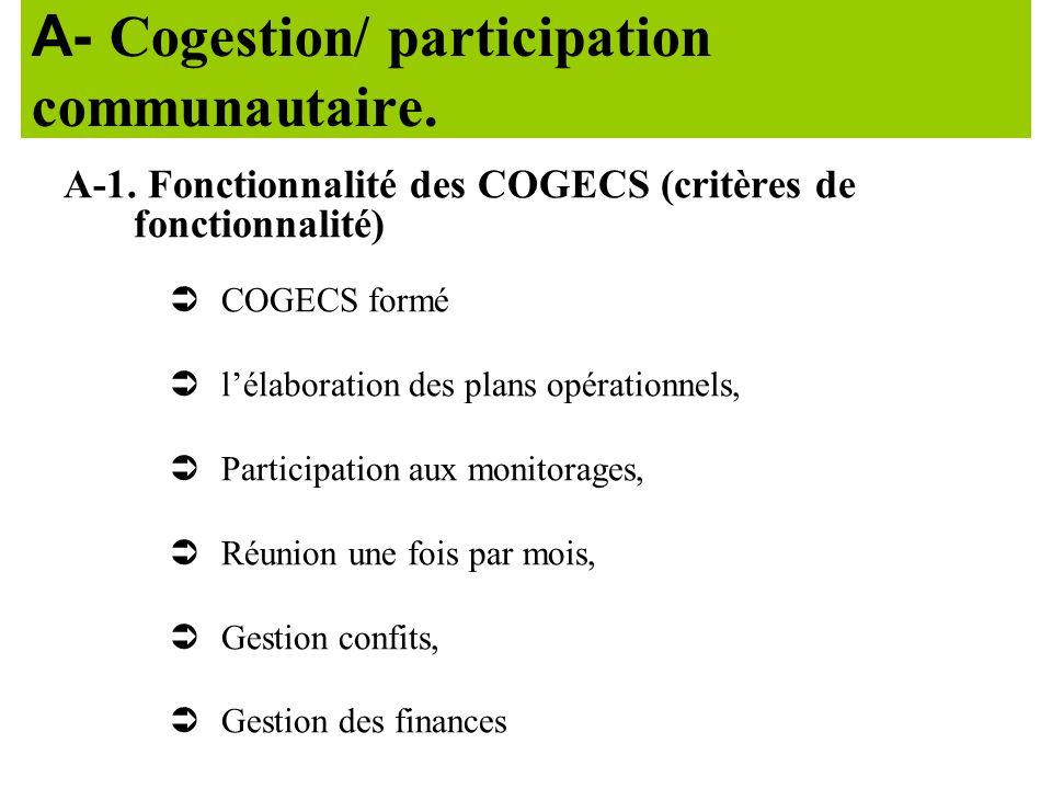 A- Cogestion/ participation communautaire.