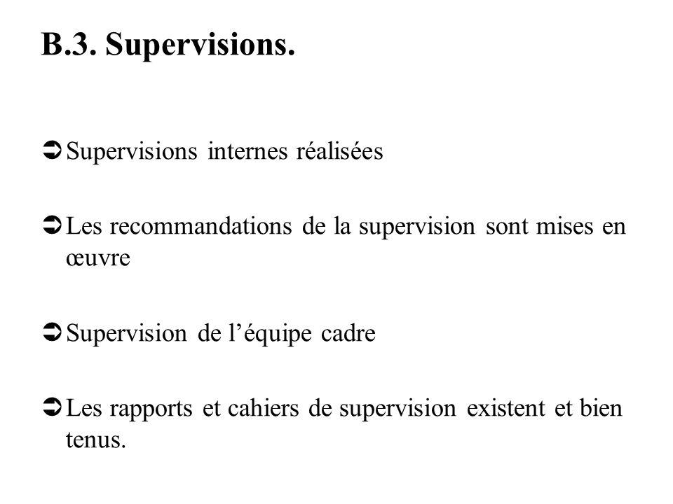 B.3. Supervisions. Supervisions internes réalisées