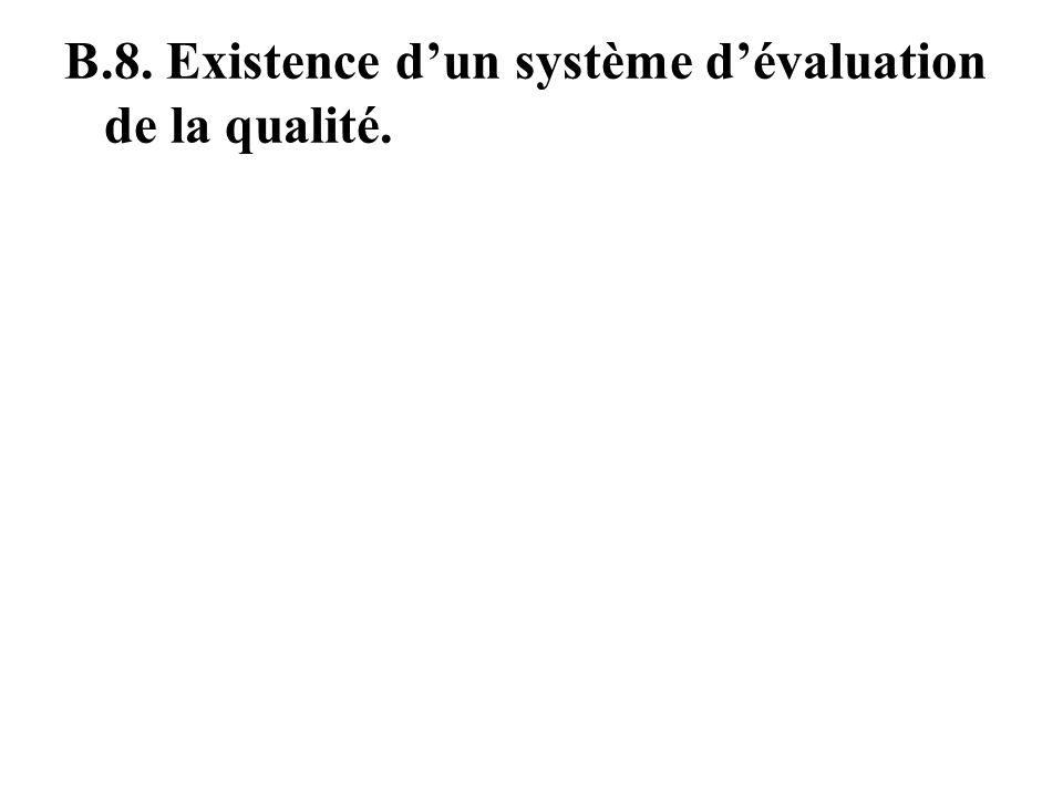 B.8. Existence d'un système d'évaluation de la qualité.