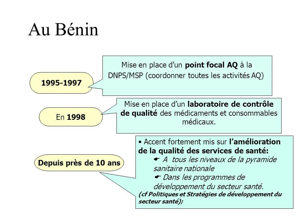 Au Bénin Mise en place d'un point focal AQ à la DNPS/MSP (coordonner toutes les activités AQ) 1995-1997.