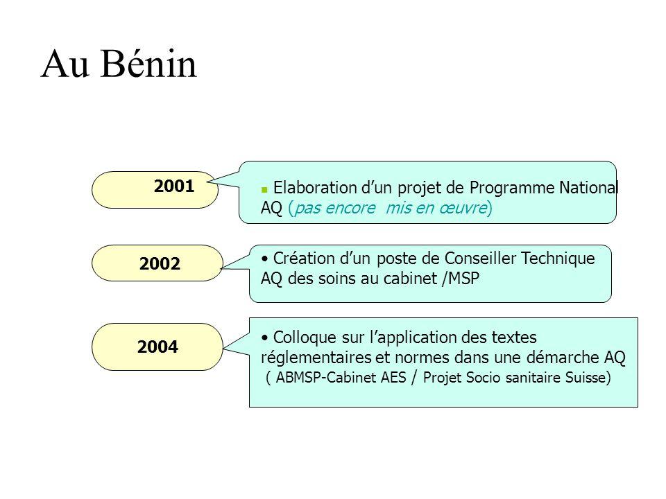 Au Bénin Elaboration d'un projet de Programme National AQ (pas encore mis en œuvre) 2001. 2002.