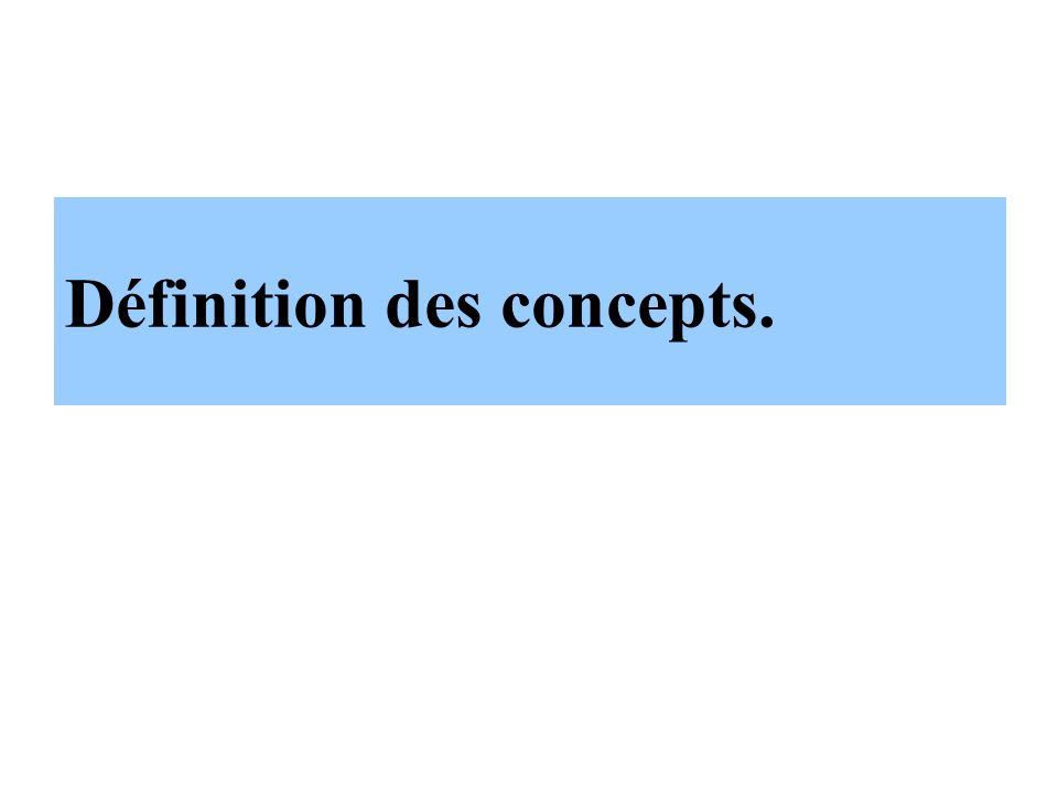 Définition des concepts.