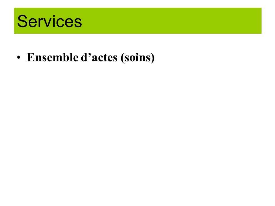 Services Ensemble d'actes (soins)