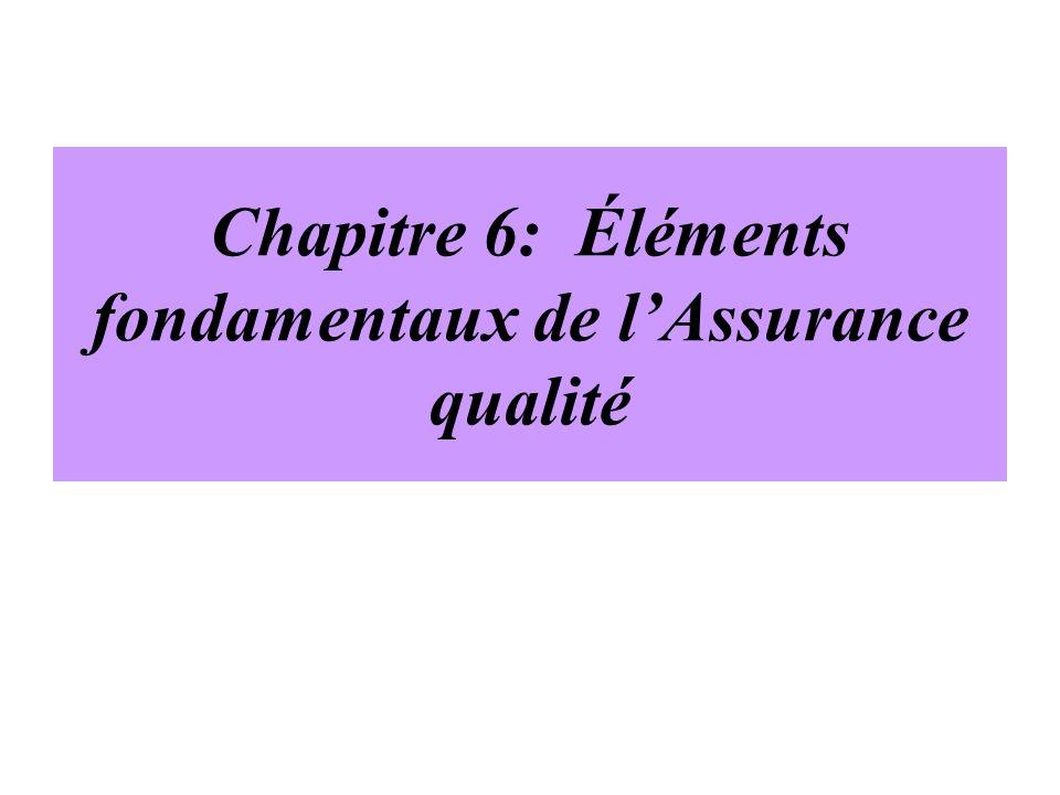 Chapitre 6: Éléments fondamentaux de l'Assurance qualité