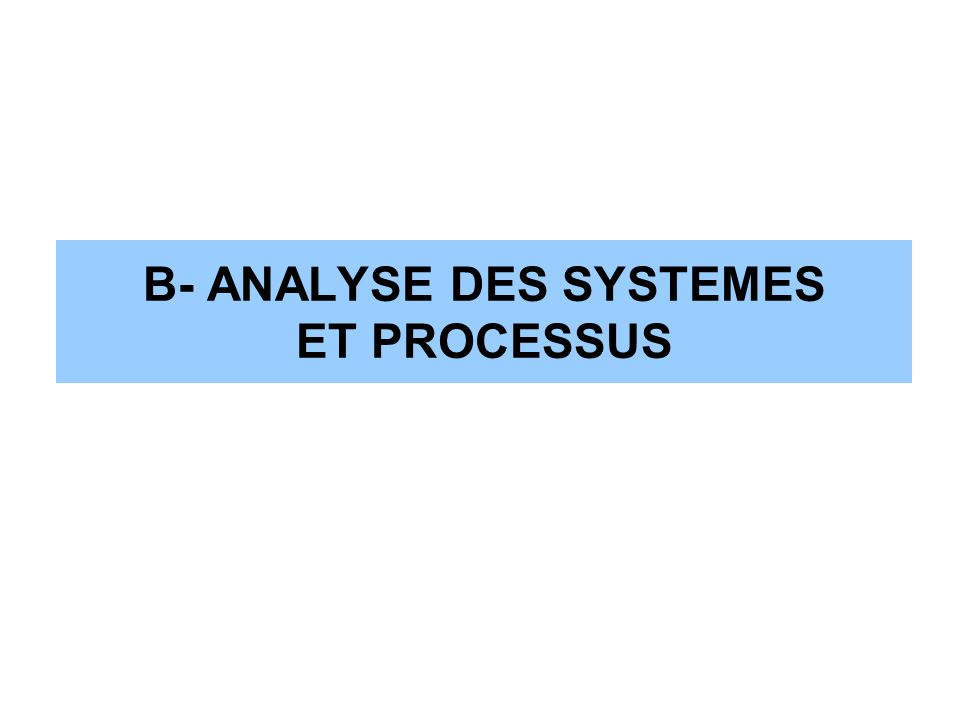 B- ANALYSE DES SYSTEMES ET PROCESSUS