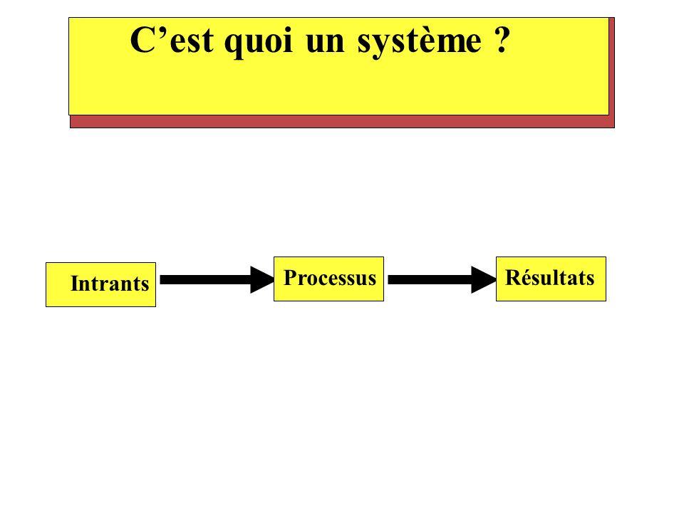 C'est quoi un système Processus Résultats Intrants