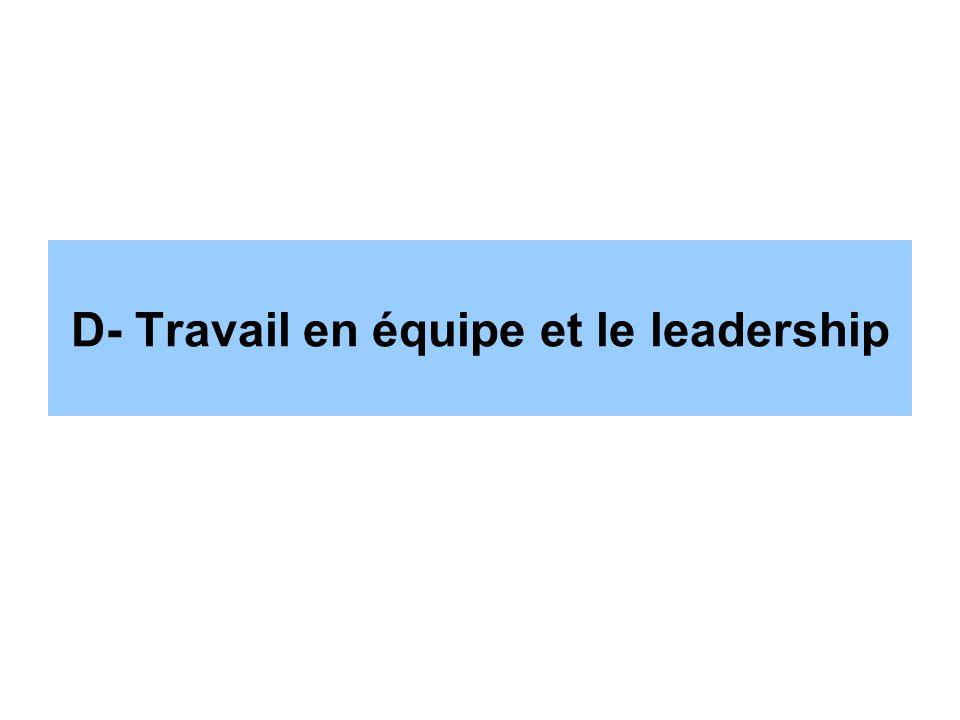 D- Travail en équipe et le leadership