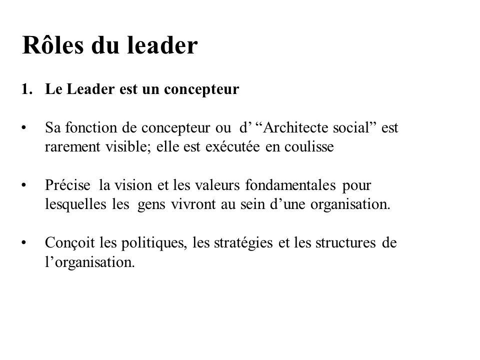 Rôles du leader Le Leader est un concepteur