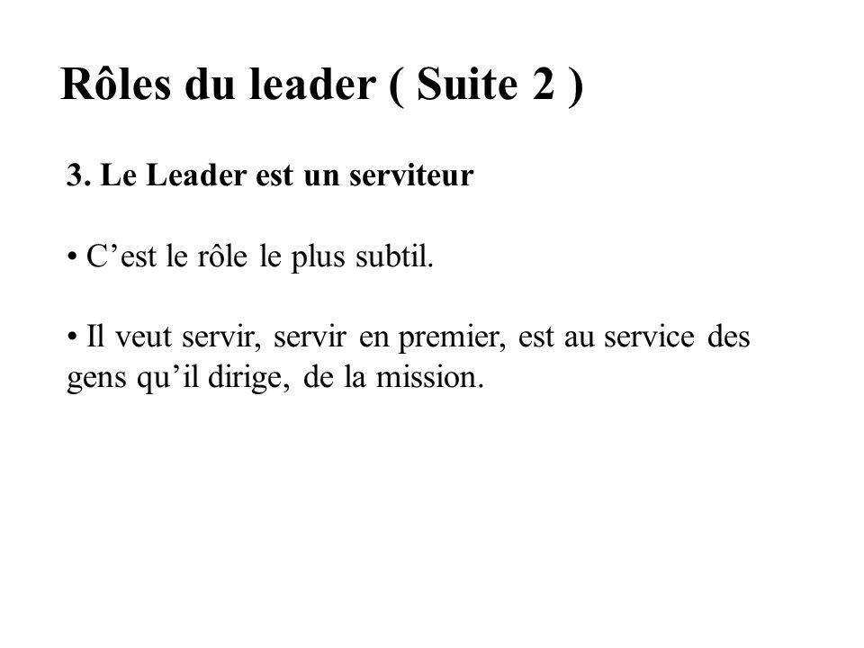 Rôles du leader ( Suite 2 )