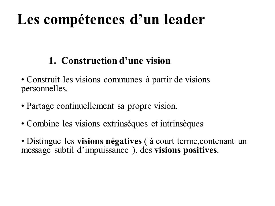 Les compétences d'un leader