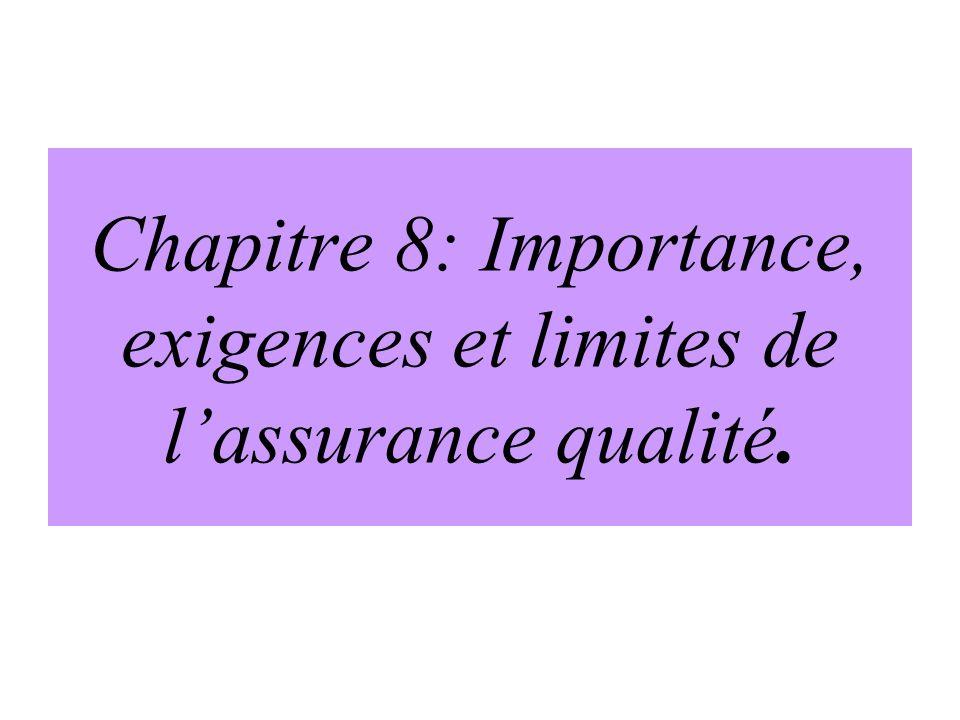 Chapitre 8: Importance, exigences et limites de l'assurance qualité.