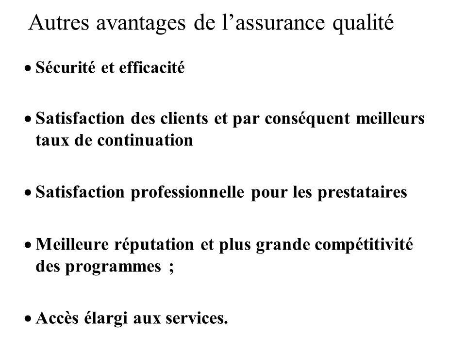 Autres avantages de l'assurance qualité