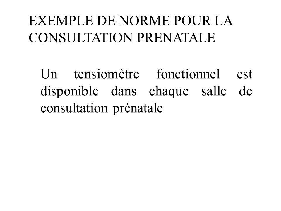 EXEMPLE DE NORME POUR LA CONSULTATION PRENATALE