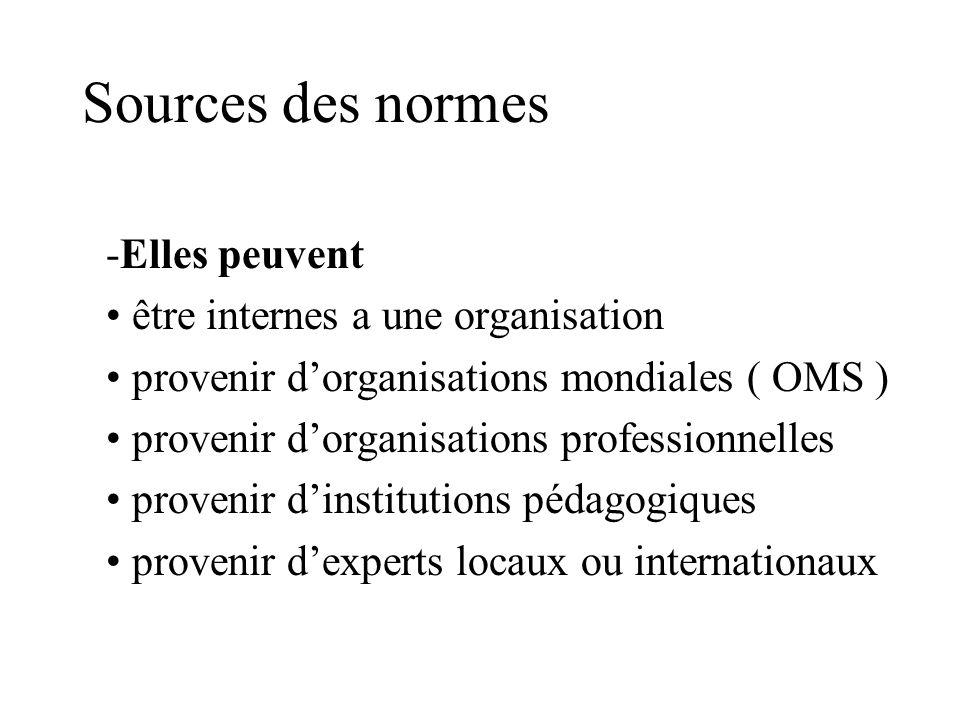 Sources des normes Elles peuvent être internes a une organisation