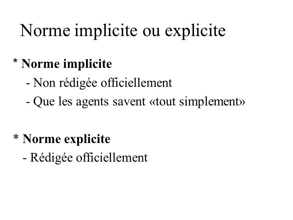 Norme implicite ou explicite