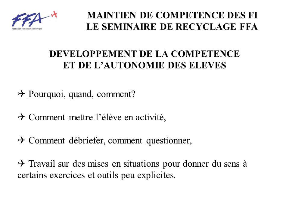 DEVELOPPEMENT DE LA COMPETENCE ET DE L'AUTONOMIE DES ELEVES