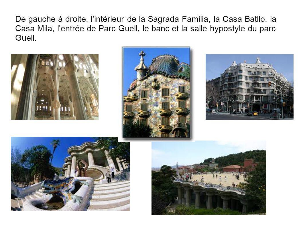 De gauche à droite, l intérieur de la Sagrada Familia, la Casa Batllo, la Casa Mila, l entrée de Parc Guell, le banc et la salle hypostyle du parc Guell.