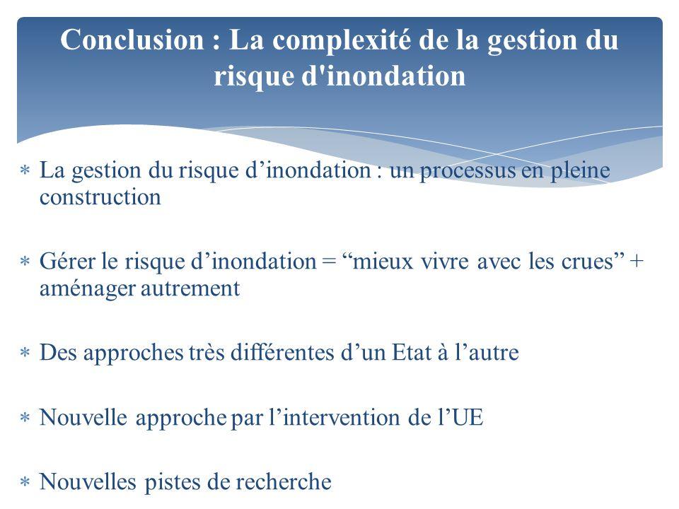Conclusion : La complexité de la gestion du risque d inondation