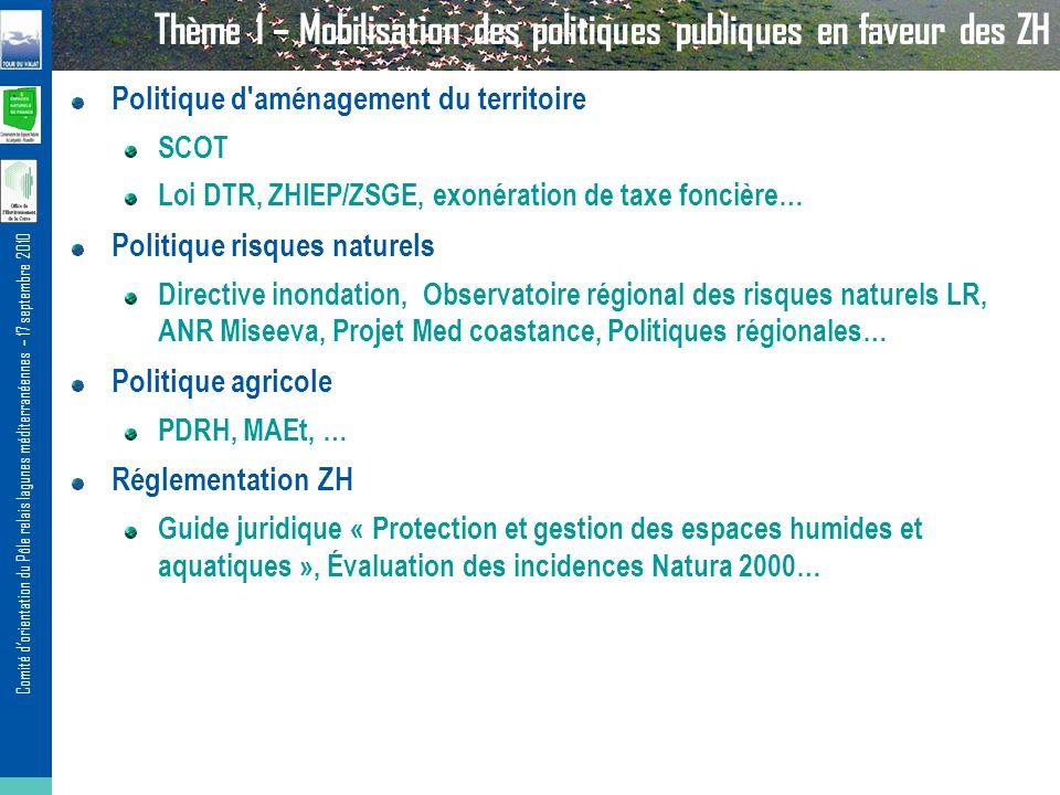 Thème 1 – Mobilisation des politiques publiques en faveur des ZH
