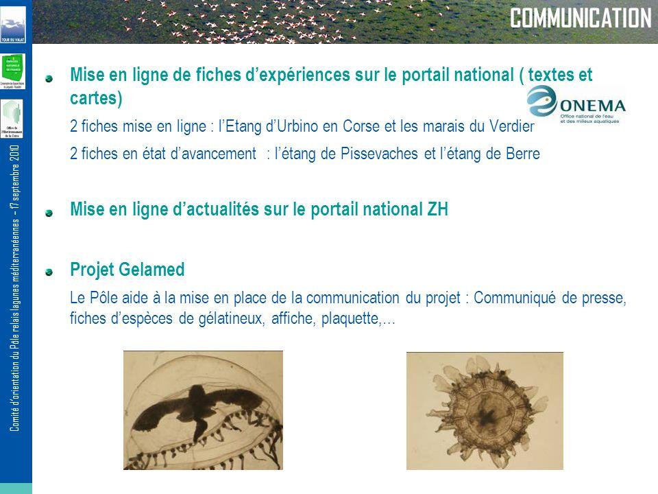 COMMUNICATION Mise en ligne de fiches d'expériences sur le portail national ( textes et cartes)